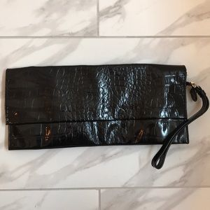 Saks Fifth Avenue Patten Leather Clutch